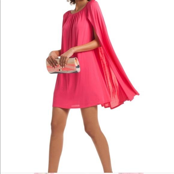 970f6ee179a Trina Turk Amaro Cape Cocktail Hot Pink Dress